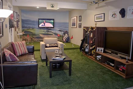 small golf themed man cave