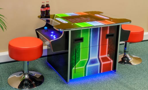 A man cave office Pac-Man arcade machine
