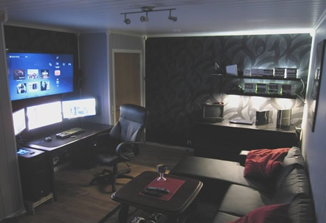 A bachelor pad themed man cave office