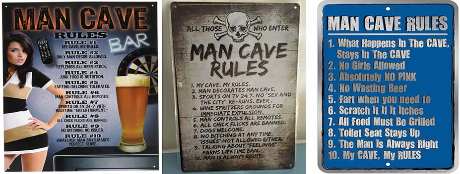man cave rules signs