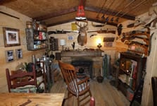 rustic themed man cave