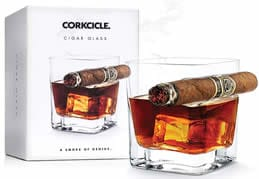 whiskey glass with cigar rest
