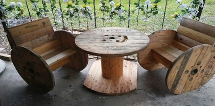 Large spool bar table and chairs
