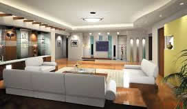 Use of color and light to brighten a basement man cave