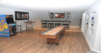 light reflective colored basement man cave