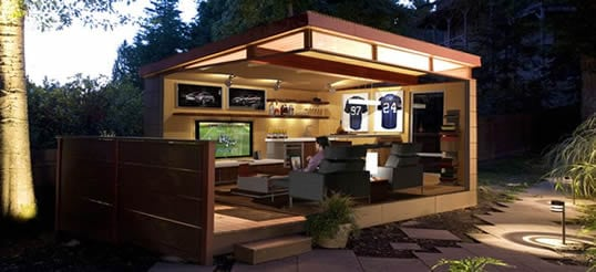 modern man cave shed