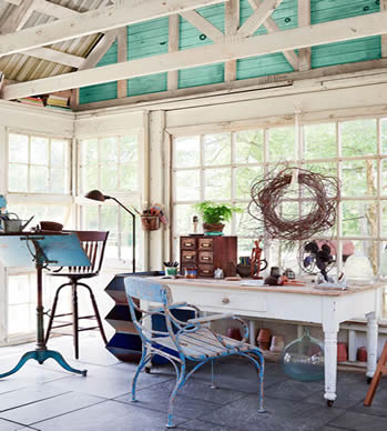 open roof plan she shed interior