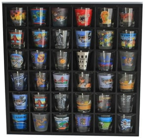 Man cave bar accessory shot glass display
