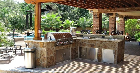outdoor man cave grilling