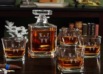 personalized whiskey decanter and glasses