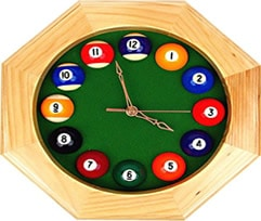 pool man cave bar clock accessory