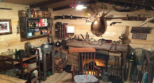 small rustic man cave shed
