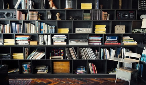 modern man cave shelving with retro feel