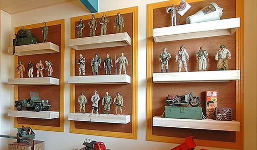 picture perfect man cave shelving idea