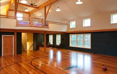 Basketball court man cave