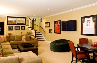 Cool basketball basement man cave