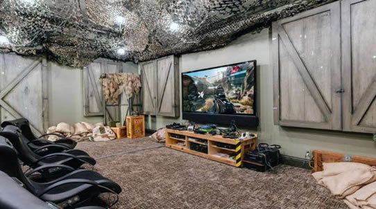 Military camo gaming man cave