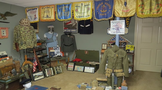Military outfits and decor for man cave