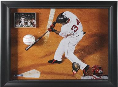 Signed baseball in framed collage