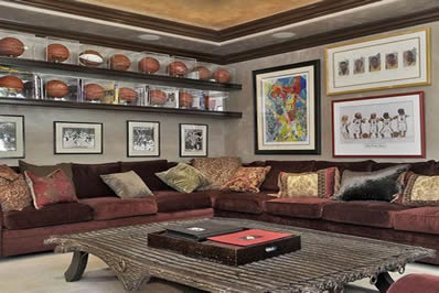 Upscale basketball man cave
