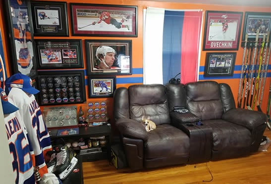 Ice hockey wall of fame man cave