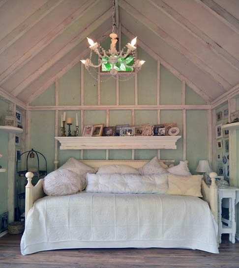 Rustic she shed bedroom