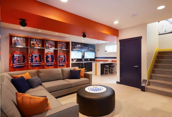 Team specific ice hockey man cave