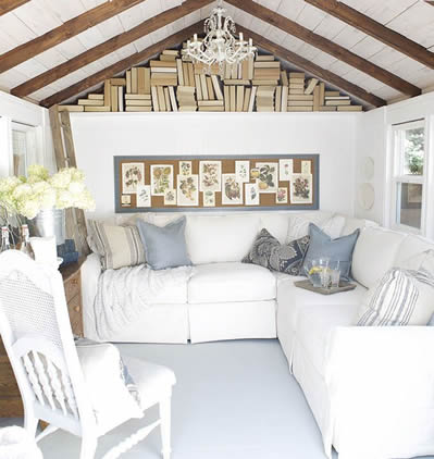 Book nook in rafters of she shed