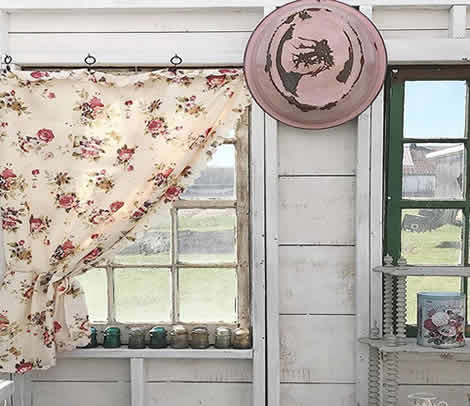 Floral she shed curtains