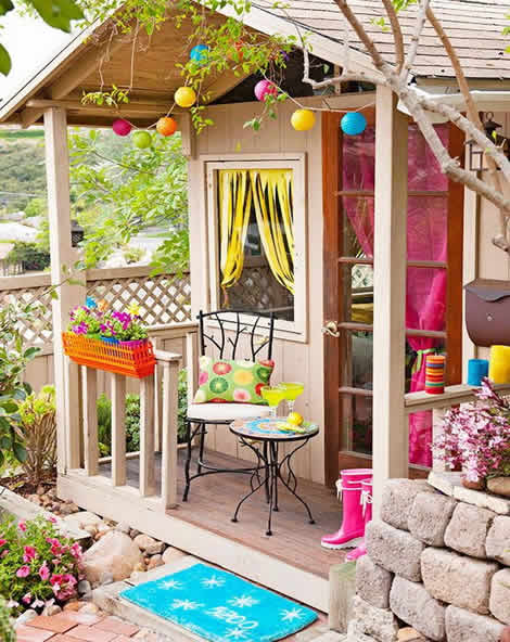 Funky colorful she shed