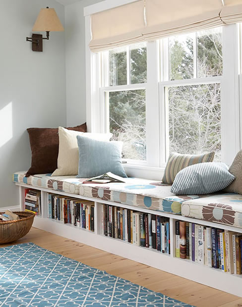 Under seat storage in she shed library