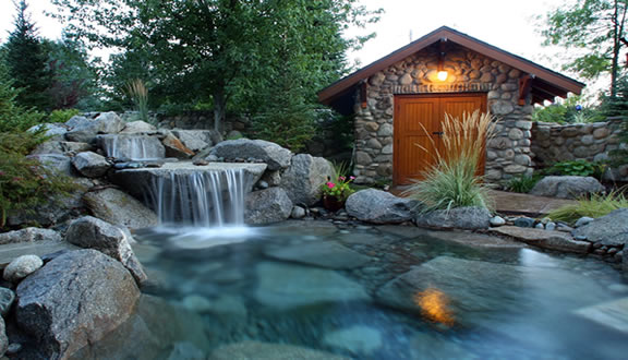 Water feature she shed landscape