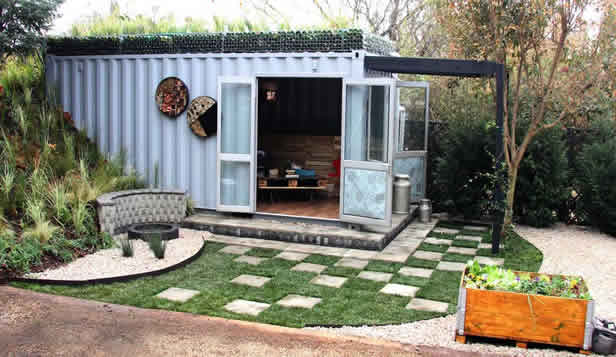 container she shed with bottle roof and landscape